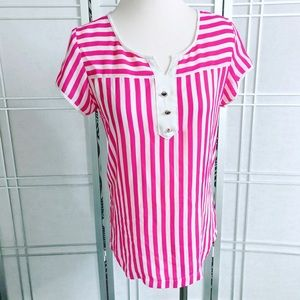 Vintage 1980's Pink White Striped Top